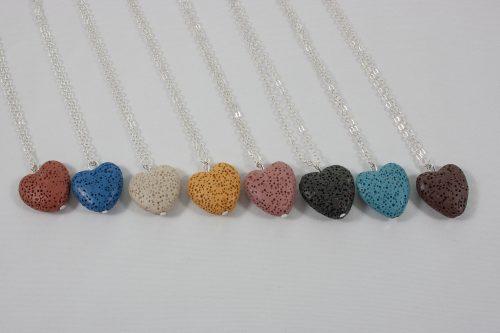 Heart Lava Rock necklace silver