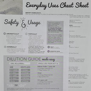 Doterra Oils Everyday Uses Cheat Sheet