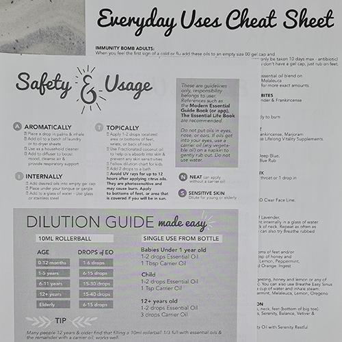 Doterra Oils Everyday Uses Cheat Sheet