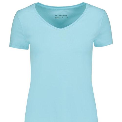 V-neck-Stretch-Cotton-T-shirt-AQUA
