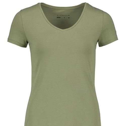 V-neck-Stretch-Cotton-T-shirt-LIGHT-KHAKI