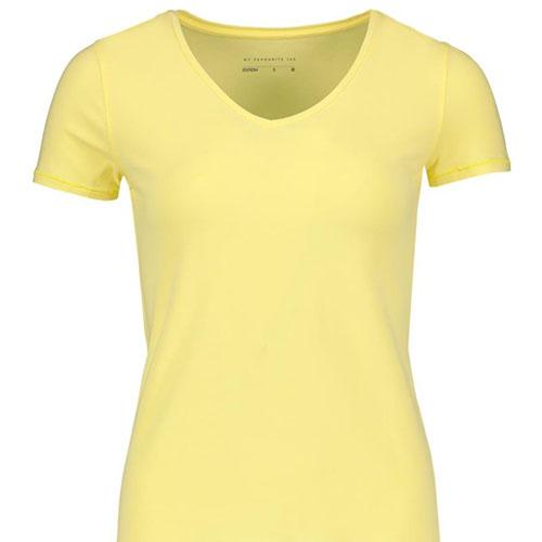 V-neck-Stretch-Cotton-T-shirt-YELLOW